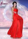 SUN-448 Classic Sheath Sweetheart Chiffon Deep Red Prom Dresses