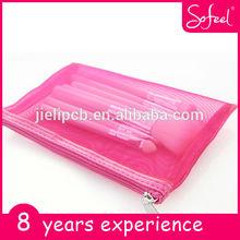 sofeel pennelli sintetici capelli rosa set con chiusura lampo rosso
