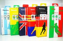 colorful football team cheap world cup 2014 souvenir earphone wholesale