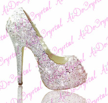 12cm Bridal Shoes China, Metal Crystal Floral Pattern Wedding High Heels