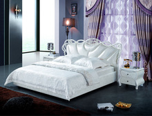 Bedroom Furniture New Design King Size White Leather Bed