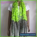 Muy de moda de neón de color verde animal de la impresión de la bufanda del poliester