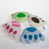 Adorable squeakies dog plush nylon toy /squeak tog tug toy paw shape