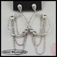 best quality fashion zinc alloy 18k gold plating chain fringe hoops