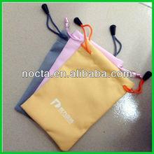 Customize yellow drawstring portable power microfiber pouch/ bag