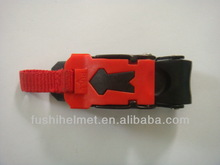 Side release plastic red and black buckle