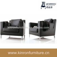 Single Seat Sofa Metal Legs Armchair Used Living Room Modern Leather Sofa