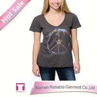 2014 new korean girls fashion t shirts wholesale deep v neck t shirts
