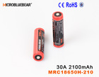 Microbluebear IMR 18650 30amp 3.7V 2100 mah rechargeable battery for electronic cigarettes