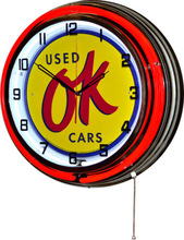 Red and White Double Neon METAL Wall Clock + OK used cars automobile tin sign