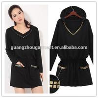 2014 New Spring Women's Elasticity Waist Long Sleeve Hooded T-shirt Loose Skirt Dress winter/autumn top star stylish