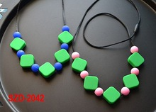 SZD-2042 Child Silicone Cubes Teething bead necklace, Silicone Baby Necklace, baby initial necklace