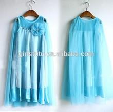 2014 frozen dress baby & kids girl summer dress cotton yarn cloak fashion lace blue princess Elsa dresses