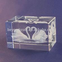 laser engraved animal crystal,inner etched swan crystal crafts