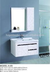 Wall mounted integral bathroom vanity sink A-65