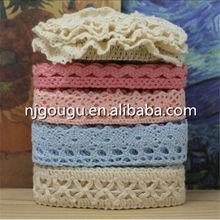 crochet 100% cotton lace trim fashion cotton lace colour