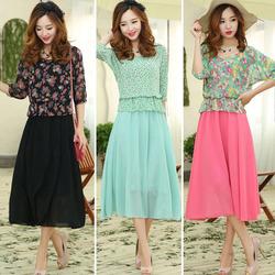 2014 New Fashion Womens casual Vintage Summer Dress Flower Print Half Sleeve Retro pattern Chiffon Dresses plus size SV004172