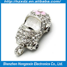 2014 Bulk cheap Crystal car 4GB usb flash stick for Metal + Jewelry