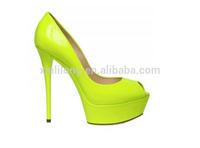 2014 new open toe 15cm very high women platform shoes big sizes lemon color