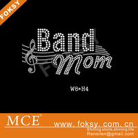 band mom&music cord letters strass hot-fix design