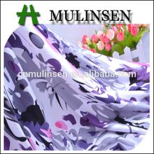 textil mulinsen el peso pesado de color púrpura flor impresa suave hilado en anillo vintage tela de rayón