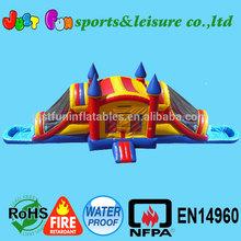53ft long dual wet&dry bouncy castle combo, inflatable bouncy slide combo