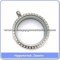 Odm de vidro de prata jewellry birthstone cristal personalizado colar medalhão