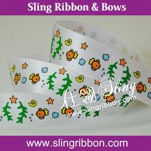 Wholesale 7/8 Fashion Sea World Printed Satin Ribbon for Baby Decoration
