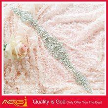 Wholesale Bridal bling decorative Organza backing hair beaded brooch