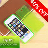 Comfortable touch Colors Clear TPU Flip Cover For iPhone 5s