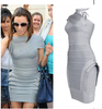 New design fashion dress 2014 rose round neck bandage dres party dress factory price