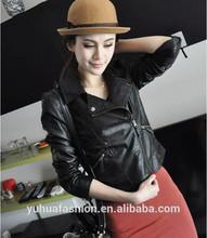 Short zipper Slim leather motorcycle leather jacket,harley leather jacket
