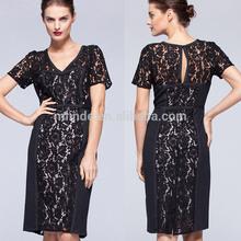 New Design High Lace Side Slit Deep V-neck Sexy Black Back Open Evening Dress