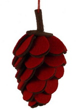 Most popular hot sale fabric red wedding party item decorative tree ornament cheap wholesale felt Christmas pine cone craft