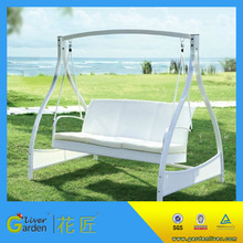 morden metal frame white hanging garden swing chairs