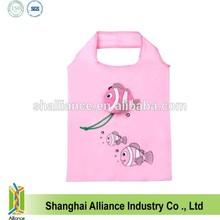 Cute Pink Fish Shape nylon Foldable Reusable Shopping Bag