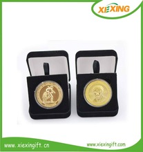 Customized souvenir gold plated metal coins and coin box