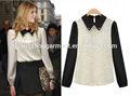 2014 nuevas mujeres de la gasa de la solapa de encaje de manga larga de la blusa para mujer de la camisa tejida TopS barato OEM