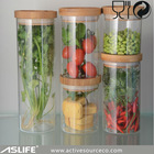 large glass storage jars 800ml borosilicate glass with bamboo lid glass bottle for storage