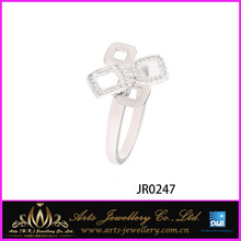 Wholesale and good quality nickel free rhodium plated 925 silver China CZ ring