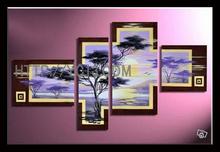 Artwork oil painting on canvas 4 panels desert tree home decor factory direct