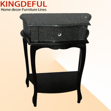 shinning black leather wooden end table