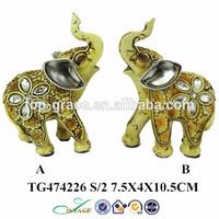 double resin elephant home decor animal brass statue