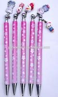 cute promotional plastic ballpoint pen with cartoon clip,OEM logo clip ballpoint pen