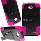 For LG Optimus L70 Hybrid Phone Case - Premium Hard Plastic Soft Silicone Armor