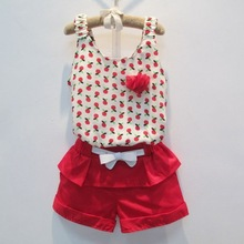 2014 hot sell European summer lovely chiffon flower girl children's clothing sets pure cotton girls shorts 2 pieces sets