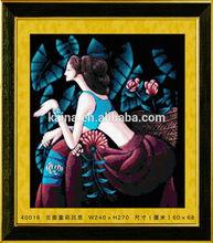 2014 LATEST BEAUTIFUL COLORFUL LADY FIGURE PAINTING,DIY DIGITAL FLOWER PAINTING CRYSTAL DIAMOND PAINTING