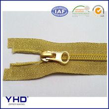 nylon zipper gold tape matte gold thumb slider