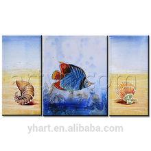 Wholesale 3 panel modern original beach seafood fish Oil Painting Group