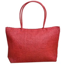 Red knitted beach bag